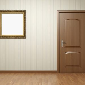 Empty room with wooden door and frame on striped wallpaper